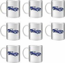 STUFF4 Tee/Kaffee Becher 350ml/8 Pack Blue/Aston Vanquish/Weißkeramik/ST10