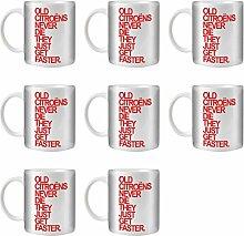 STUFF4 Tee/Kaffee Becher 350ml/8 Pack Citroën/Red Text/Alte Autos/Weißkeramik/ST10