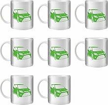 STUFF4 Tee/Kaffee Becher 350ml/8 Pack Grün/Focus RS Mk2/Weißkeramik/ST10