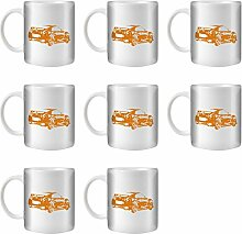 STUFF4 Tee/Kaffee Becher 350ml/8 Pack Orange/Nissan GT-R R35/Weißkeramik/ST10