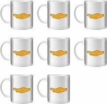 STUFF4 Tee/Kaffee Becher 350ml/8 Pack Orange/P 962 Prototype/Weißkeramik/ST10
