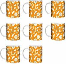 STUFF4 Tee/Kaffee Becher 350ml/8 Pack Orange/Weiß/Autoteile/Weißkeramik/ST10