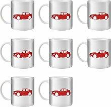 STUFF4 Tee/Kaffee Becher 350ml/8 Pack Rot/Alfa Romeo Giulia/Weißkeramik/ST10