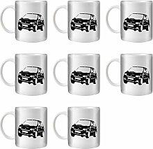 STUFF4 Tee/Kaffee Becher 350ml/8 Pack Schwarz/Renault Clio Williams/Weißkeramik/ST10