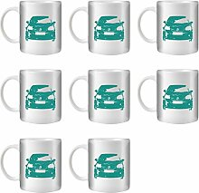STUFF4 Tee/Kaffee Becher 350ml/8 Pack Türkis/VW Golf GTI Mk5/Weißkeramik/ST10