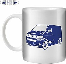 STUFF4 Tee/Kaffee Becher 350ml/Blau/{collectionname}=VW T5 Transporter/Weißkeramik/ST10