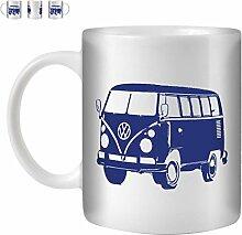STUFF4 Tee/Kaffee Becher 350ml/Blau/VW T1 Kombi Bus/Weißkeramik/ST10