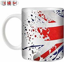 STUFF4 Tee/Kaffee Becher 350ml/Großbritannien/Flagge Splat Land/Weißkeramik/ST10