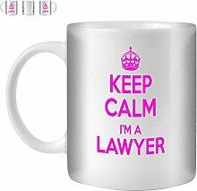 STUFF4 Tee/Kaffee Becher 350ml/Lawyer/Pink Text/Keep Calm I'm.../Weißkeramik/ST10