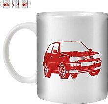 STUFF4 Tee/Kaffee Becher 350ml/Rot/VW Golf GTI Mk3/Weißkeramik/ST10