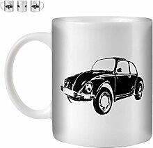 STUFF4 Tee/Kaffee Becher 350ml/Schwarz/Volkswagen Käfer/Weißkeramik/ST10
