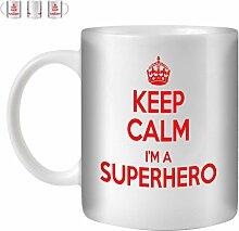 STUFF4 Tee/Kaffee Becher 350ml/Superhero/Red Text/Keep Calm I'm.../Weißkeramik/ST10