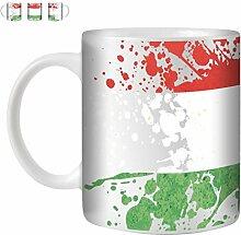 STUFF4 Tee/Kaffee Becher 350ml/Ungarn/Flagge Splat Land/Weißkeramik/ST10