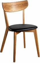 Stuhl aus Eiche Massivholz Schwarz Kunstleder (2er