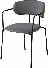 Stuhl aus mattschwarzem Metall mit anthrazitgrauem