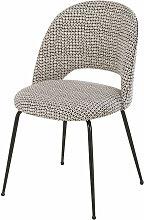 Stuhl aus mattschwarzem Metall mit schwarz-weiß