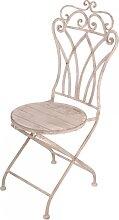 Stuhl aus Metall mit Holz antikweiß Shabby Chic H. 102cm Esschert Design (59,95 EUR / Stück)