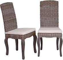 Stuhl aus Rattan Braun (2er Set)