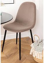 Stuhl aus Samt Glamm Grau Taupe & Schwarz Sklum