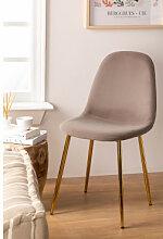 Stuhl aus Samt Glamm Grau Taupe & Vergoldet Sklum