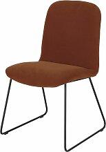 Stuhl aus schwarzem Metall mit braunem Samtbezug