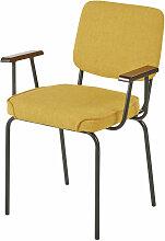 Stuhl aus schwarzem Metall mit gelbem Bezug Editor