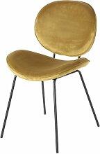 Stuhl aus schwarzem Metall mit ockerfarbenem