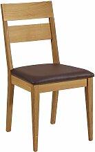 Stuhl aus Wildeiche Massivholz Braun Kunstleder