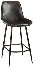 Stuhl-Bar Leder und Metall dunkelbraun