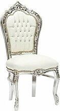 Stuhl Barock Silber Weiß
