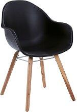 Stuhl BEN mit Holzbeinen und Sitzschale Schwarz