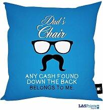 Stuhl Gläser & Schnurrbart Design Blau Sitzkissen hergestellt in Yorkshire tolle Geschenkidee für Väter Vatertag Geschenk Vater