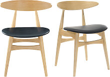 Stuhl Holz h und PU Schwarz skandinavisches /