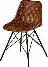 Stuhl im Industrial-Stil, aus gestepptem Leder,