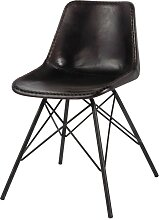 Stuhl im Industrial-Stil aus Leder und Metall,