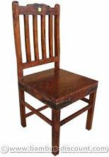Stuhl im Kolonialstil dunkel mit Rückenlehne und Karamik - Massivholzmöbel, Kolonialmöbel, Möbel im Kolonialstil (Beispiel: Sitzmöbel im Kolonialstil), Kolonialmöbelstück