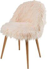 Stuhl im Vintage-Stil aus rosa Kunstfell und