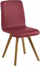 Stuhl in Dunkelrot Kunstleder Wildeiche Massivholz