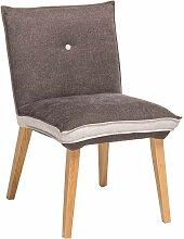 Stuhl in Grau Beige Stoff Holzbeine