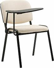 Stuhl Ken mit Klapptisch Kunstleder-creme-Metall matt schwarz