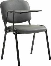 Stuhl Ken mit Klapptisch Kunstleder-grau-Metall matt schwarz