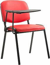 Stuhl Ken mit Klapptisch Kunstleder-rot-Metall matt schwarz