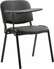 Stuhl Ken mit Klapptisch Kunstleder-schwarz-Metall matt schwarz