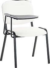 Stuhl Ken mit Klapptisch Kunstleder-weiß-Metall matt schwarz