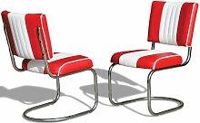Stuhl Küchenstuhl 2-er Set Esszimmerstuhl Dinerstuhl Bürostühle 50er Jahre Diner Stühle (Red/White)
