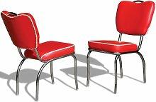 Stuhl Küchenstuhl 2-er Set Esszimmerstuhl Dinerstuhl Bürostühle 50er Jahre Diner Stühle (Red)