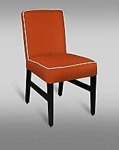 Stuhl Leblon 07 mit Kunstlederbezug, Farbe: Orange - Abmessungen: 88 x 46 x 49 cm (H x B x T)
