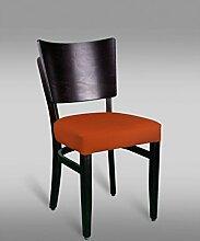 Stuhl Leblon 10 mit Kunstlederbezug, Farbe: Orange - Abmessungen: 88 x 43 x 42 cm (H x B x T)