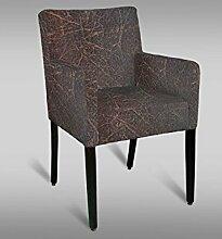 Stuhl Leblon 111 mit Stoffbezug, Farbe: Rot / Grau - Abmessungen: 90 x 54 x 58 cm (H x B x T)