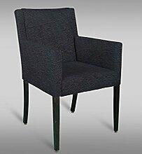 Stuhl Leblon 114 mit Stoffbezug, Farbe: Schwarz - Abmessungen: 90 x 54 x 58 cm (H x B x T)